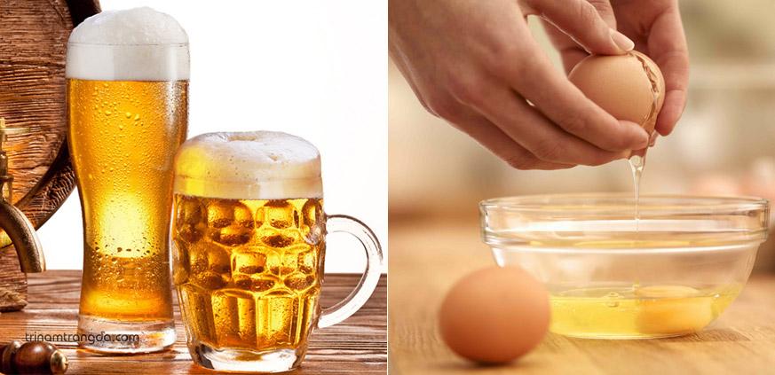 3. Cách làm mặt nạ chăm sóc tóc sử dụng bia và trứng gà