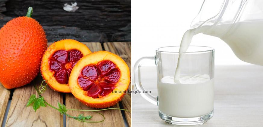 2. Kết hợp sữa tươi và dầu gấc để trị nám làm trắng da