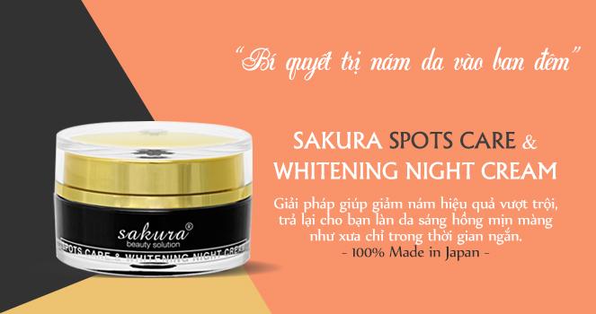 kem dưỡng trắng da trị nám cao cấp ban đêm Sakura Spots Care & Whitening Night Cream