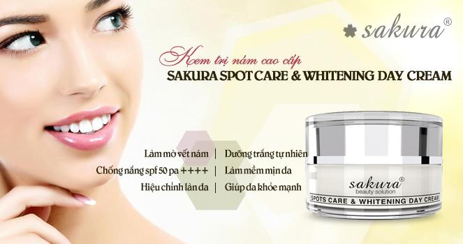 Kem dưỡng trắng da trị nám cao cấp ban ngày Sakura spots care & whitening Day Cream SPF 50 PA++++