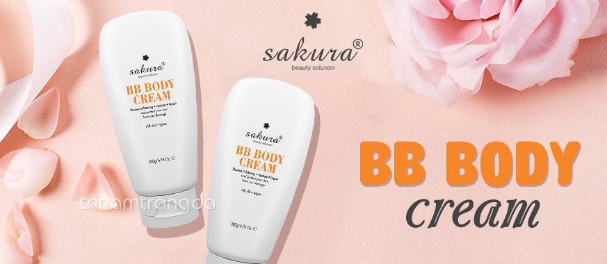 Sakura Skin Whitening BB Body Cream Kem Dưỡng Trắng Da Toàn Thân Và Trang Điểm