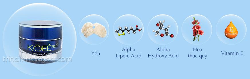 Thành phần chính: Yến, Alpha Lipoic Acid, Alpha Hydroxy Acid, Hoa Thục Quỳ, Vitamin E